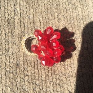 Vintage crocheted red beaded ring